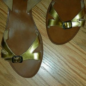 Madewell Gold Mini Wedge Sandals
